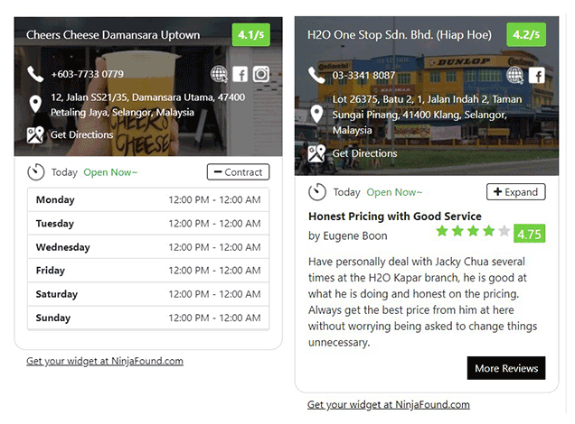 New & Beautiful Business Info & Review Widget