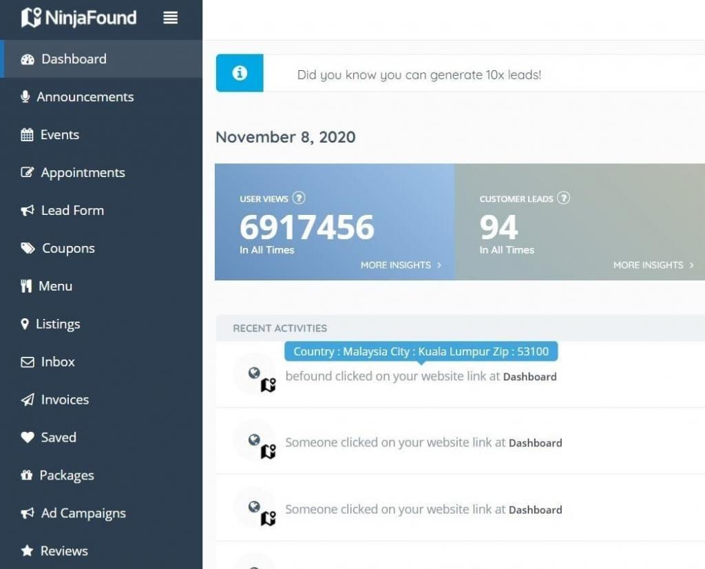 Manage your Business with NinjaFound Dashboard